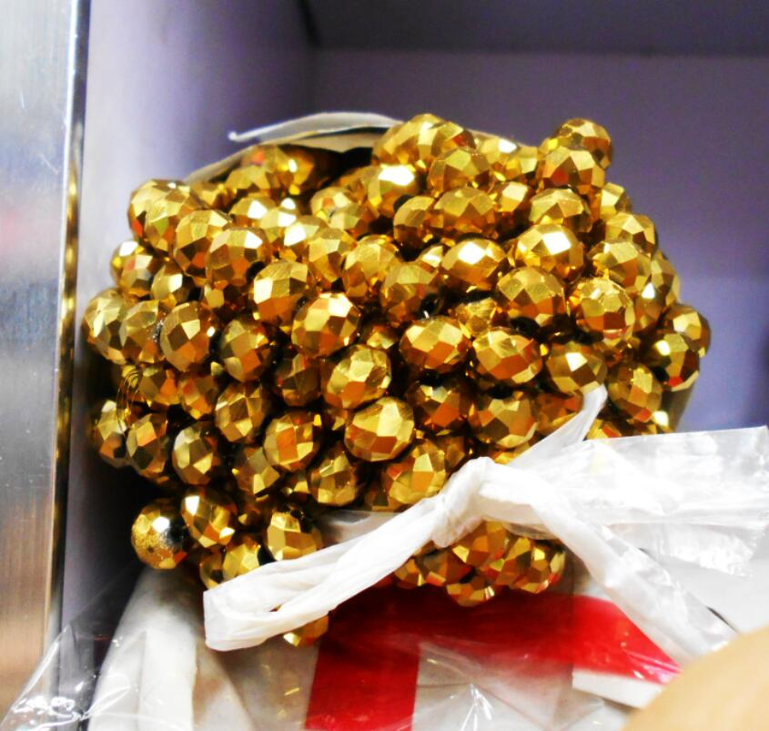 FLTMRH Shining Golden Color 3 4mm 145pcs Rondelle Austria faceted Crystal Glass Beads Loose Spacer Beads