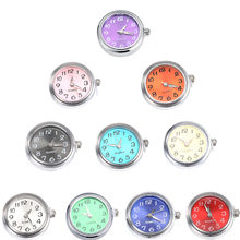10 pcs / lot Glass clock buttons Buttons ten colors can move Fit 18mm / 20mm DIY snap bracelet Interchangeable Buttons Jewelry
