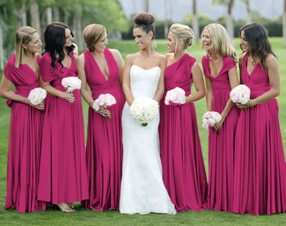 2019 Magenta   Bridesmaid     Dress   Magenta Infinity   Dress   , Convertible   Dress  , Multi wrap   dress