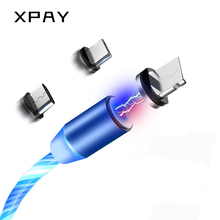 Magnetic USB Flow Luminous Lighting Cable For iPhone XR X 7 8 Micro Type C Charger Fast Charging Magnet Charge USB-C