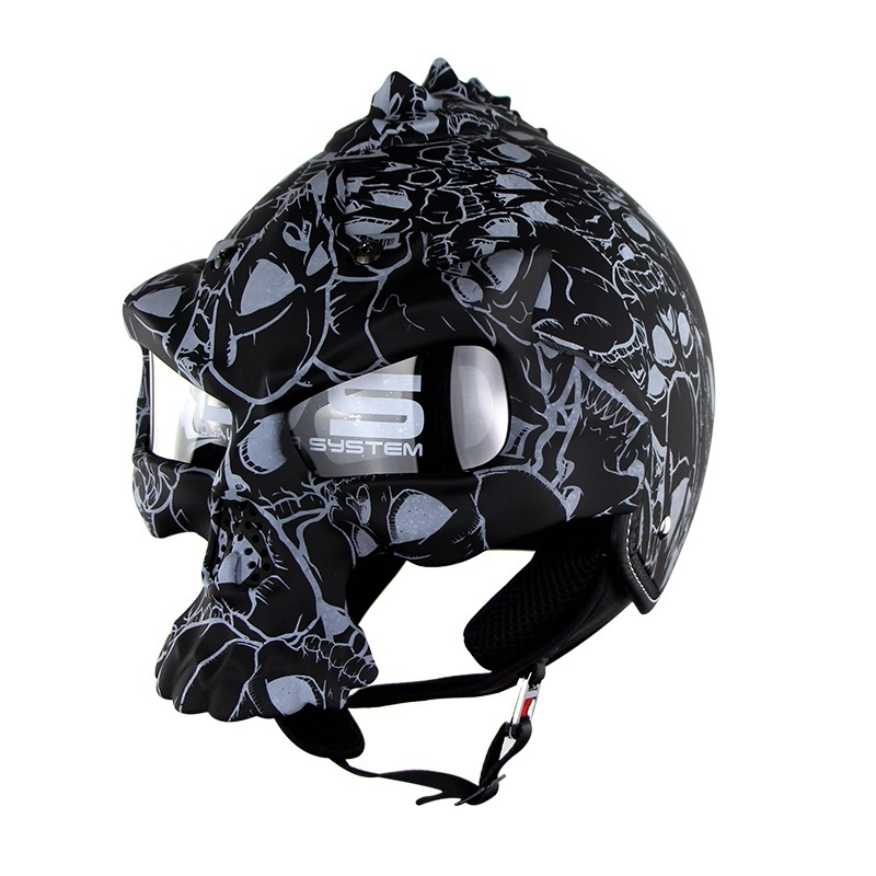 Dual Use Skull Motorcycle Helmet Capacete Casco Novelty Retro Casque Motorbike Half Face Helmet Electric vehicle helmet skull motorcycle helmet capacetes casco novelty retro casque motorbike half face helmet motorcycle helmet for harley dot approve