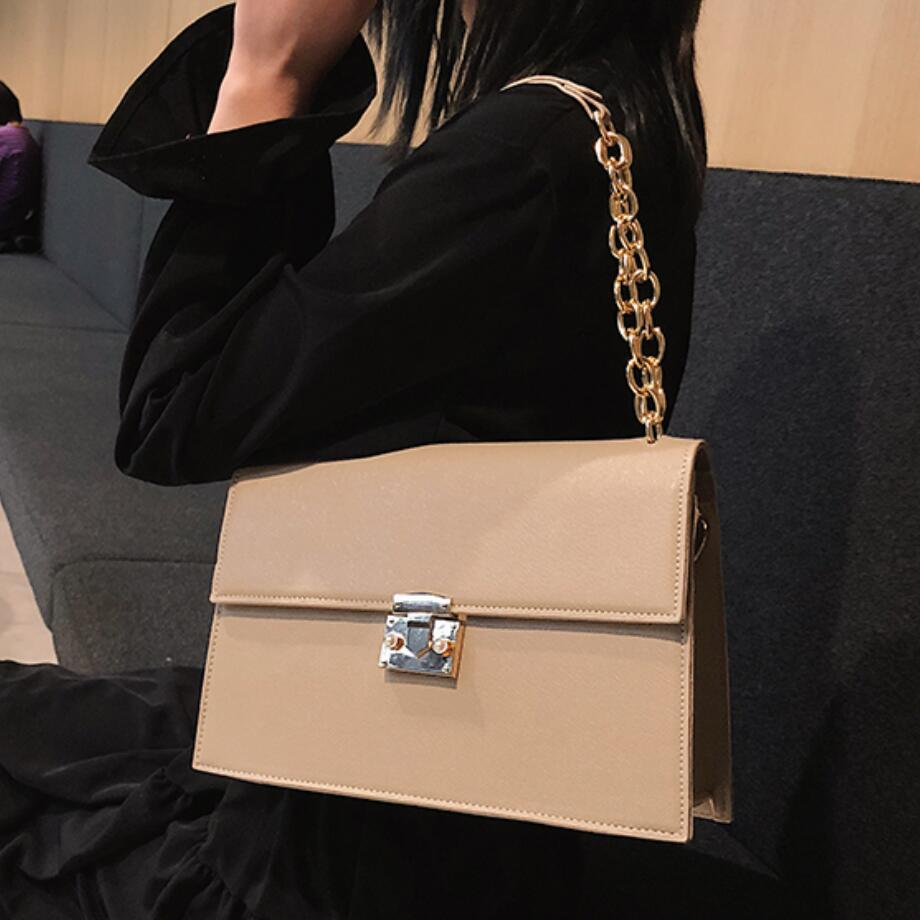 Luxury Brand Handbag 2019 Fashion New High Quality PU Leather Women's Handbag Large Tote Bag Lock Chain Shoulder Messenger Bags