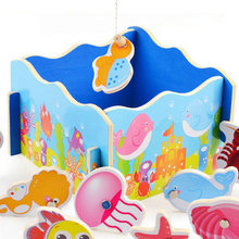 Wooden animal simulation magnetic marine life fishing toy childrens set educational Magnetic game puzzles wood toys