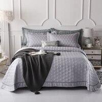 Luxus Grau Blau Lila 100% Tencel Baumwolle Stepp Bettdecke Bettdecke Bettlaken Bettwäsche Decke Sommer Quilt Kissenbezüge 3 stücke-in Tagesdecke aus Heim und Garten bei