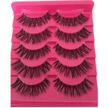 435790657c9 5 Pairs New Fashion Women Soft Natural Long Cross Fake Eye Lashes Handmade  Thick False Eyelashes