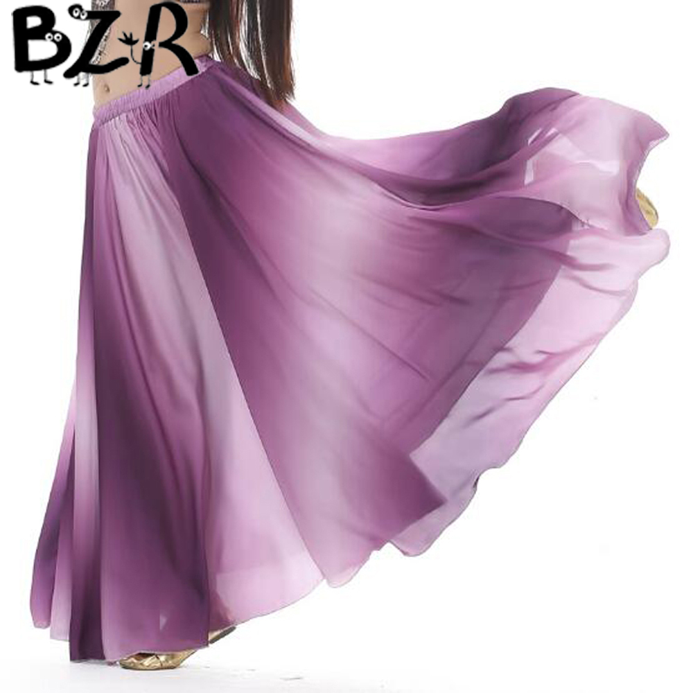 Bazzery Women's Belly Skirt Dance Clothing Gradient Color big skirt dance Performing exercises skirts  performance Costume