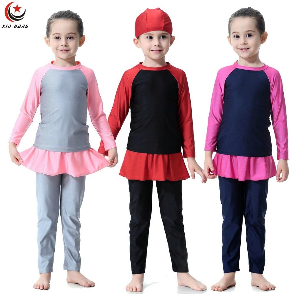 3 pz Ragazze Musulmane Costumi Da Bagno di Nuotata Del Bambino Lungo Costumi Da Bagno Islamico Bambini Arabo Islam Abbigliamento Da Spiaggia Per Bambini Costumi Da Bagno Burkinis Surf pantaloni