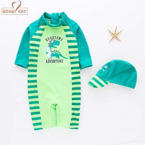 menino bebe swimwear chapeu 2pcs set dinossauro verde de surf desgaste terno de natacao infantil