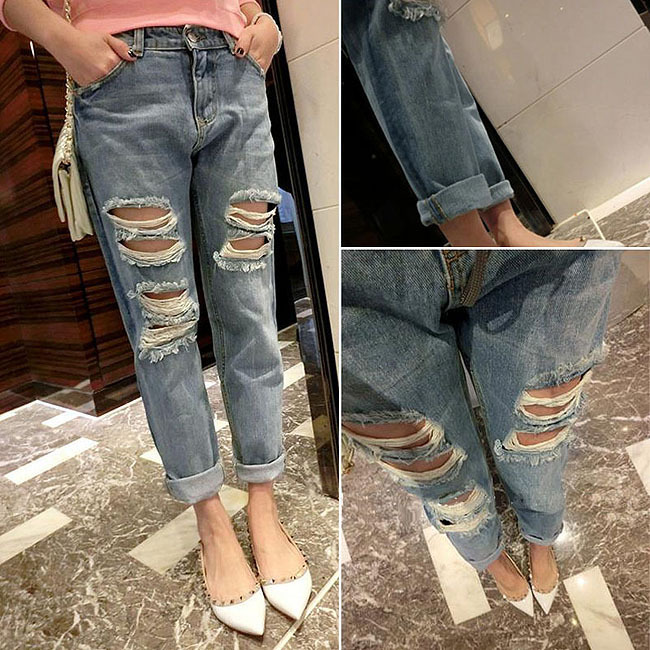 c97c8a4c85b JEANS Destroyed Ripped Distressed Womens Low rise pants Skinny Boyfriend  Acid Washed Cropped Hole Fashion Pencil Jeans-in Jeans from Women's  Clothing on ...