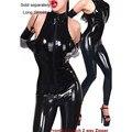 Sexy Wet Look Catsuit de Cuero Del Faux Sin Mangas Del Mono Para Las Mujeres Full Body Negro de Una Sola Pieza Con Cremallera Frontal Pantalones Ropa de Club