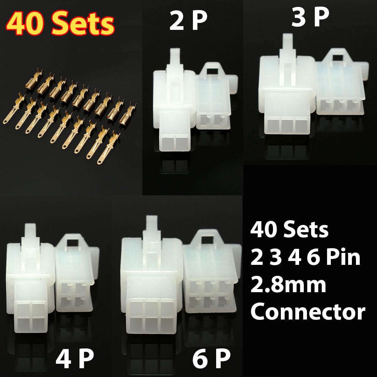 40 Set/380pcs Auto Electrical 2.8-2/3/4/6 Way Pin Wire Connector Terminal Kit Mayitr Male Female Cable Wiring Terminals for Cars 50 set kit vh3 96 3 96mm 4 pin female 22awg wire with male connector a set include socket plug terminals