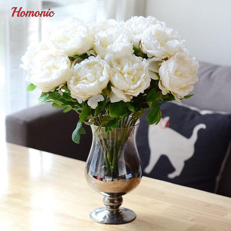 5 Köpfe bouquet pfingstrose blumenstrauß pfingstrose seidenblume - Partyartikel und Dekoration - Foto 4
