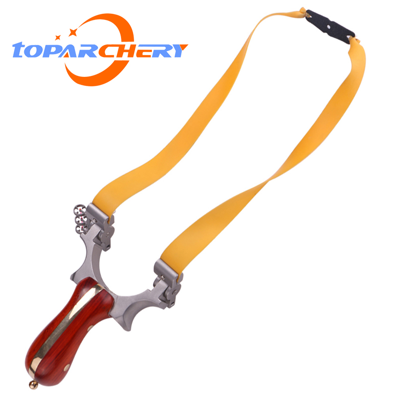 1pcs Powerful Slingshot For Hunting With Copper Strip Portable Archery Shooting Gaming Slingshots With Rubber Band