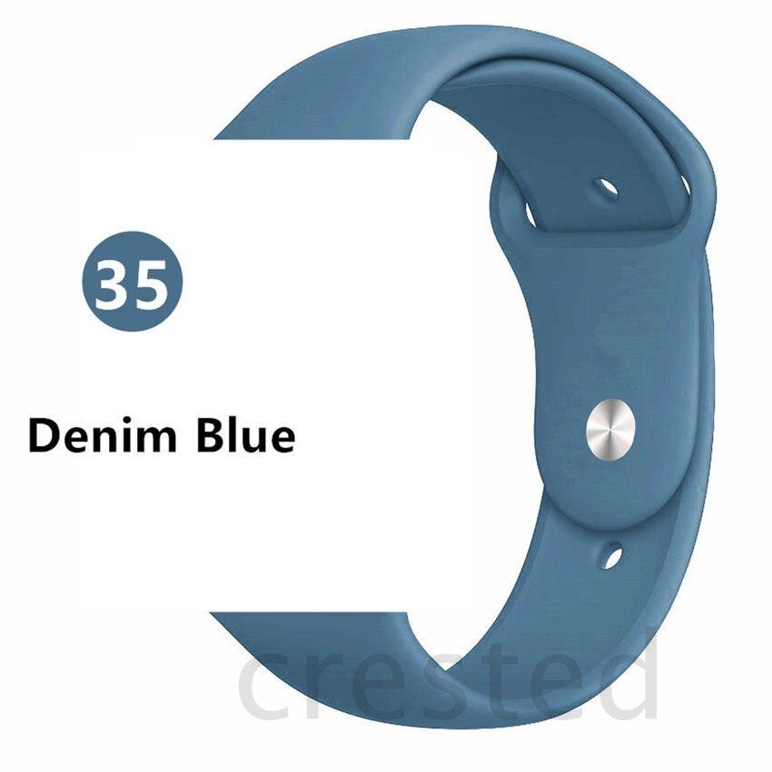 Силиконовый ремешок для apple watch 4 5 44 мм/40 мм спортивный ремешки для apple watch 3 42 мм/38 мм резиновый ремень браслет ремешок для часов apple watch Band Мягкий красочный ремешок iwatch series 4 3 2 1 - Цвет ремешка: Denim Blue