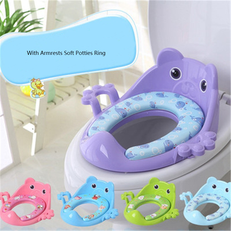 Baby Toilet Potties Children Potty Safe Seat With Armrests for Gril Boy Trainers Comfortable Toilet Large Size Ring Infant Potty children plastic toilet potties seat chamber pots kids trainers comfortable portable toilet ring baby travel potty folding chair