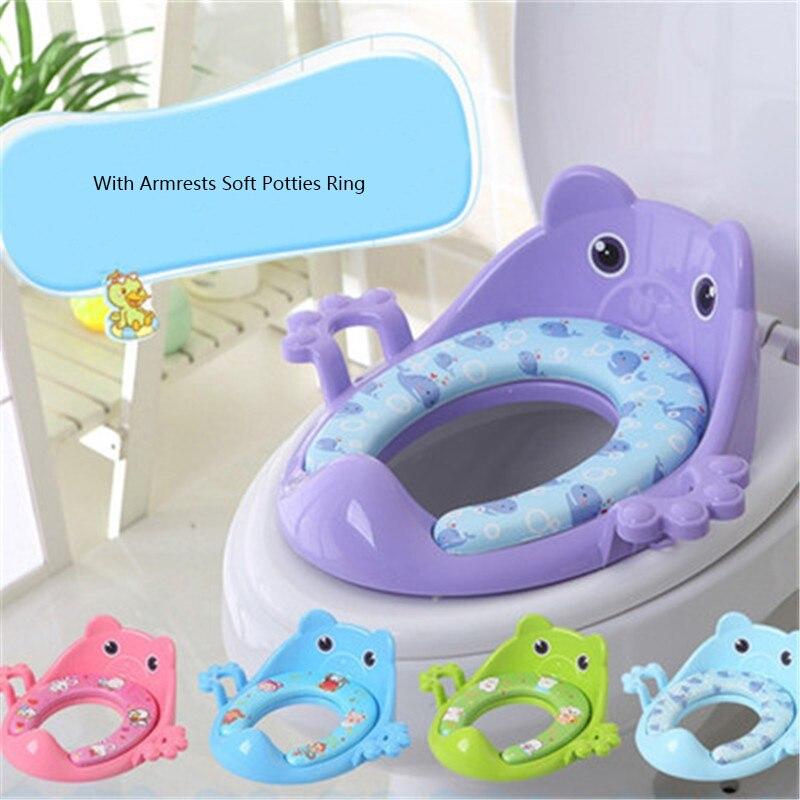 Orinal de baño para bebés, asiento seguro para niños, con apoyabrazos para niños y niñas, inodoro cómodo, anillo de tamaño grande, orinal infantil