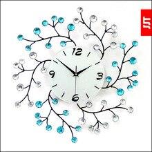 JJT Large iron wall clock diamond watch fashion mute wall quartz clocks living room decoration  50*50cm JJT-XZ002A