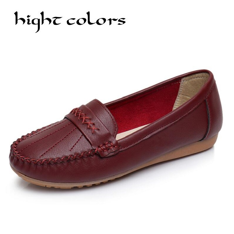 Fashion New Women Solid Leather Shoes Loafers Soft Leisure Flats Female Casual Ladies Slip Cow Driving Boat Shoes Footwear 2017 new leather women flats moccasins loafers wild driving women casual shoes leisure concise flat in 7 colors footwear 918w