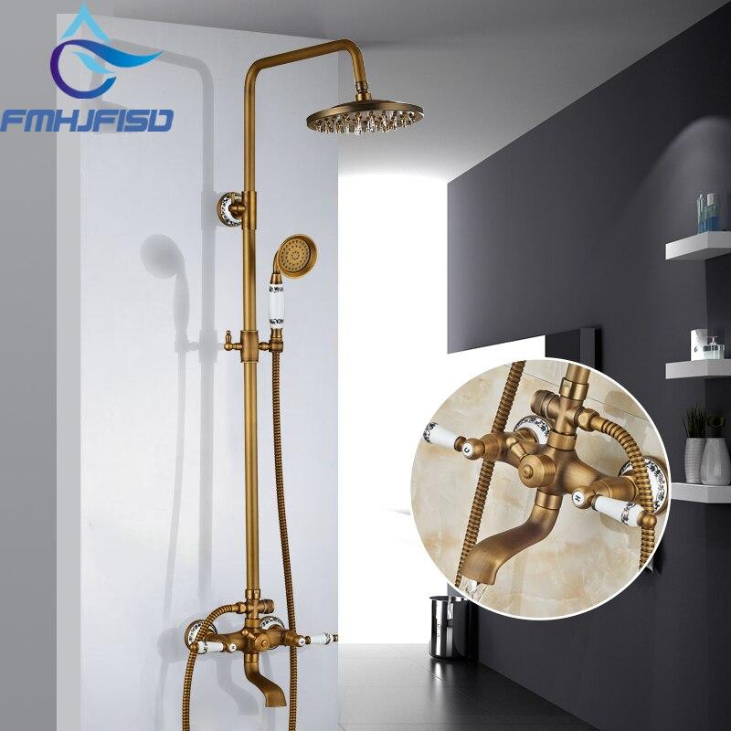"""Antike Messing Bad Dusche Wasserhahn 8 """"dusche Kopf Outdoor Dusche Wasserhahn Taps Mixer Wasser"""