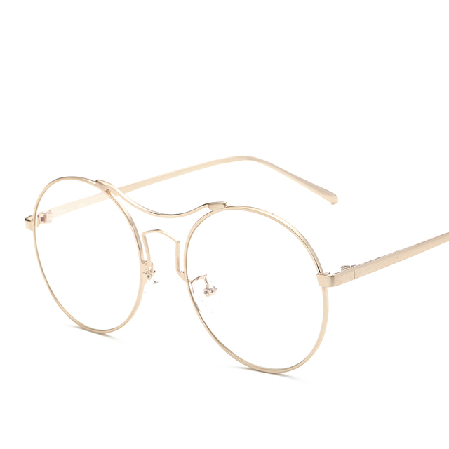 f7030dfbfc Retro Eyeglasses Frame Gold Metal Oversized Glasses Frame Round Vintage  Eyewear Frames Anti-blue Ray Optical Frames Men Women