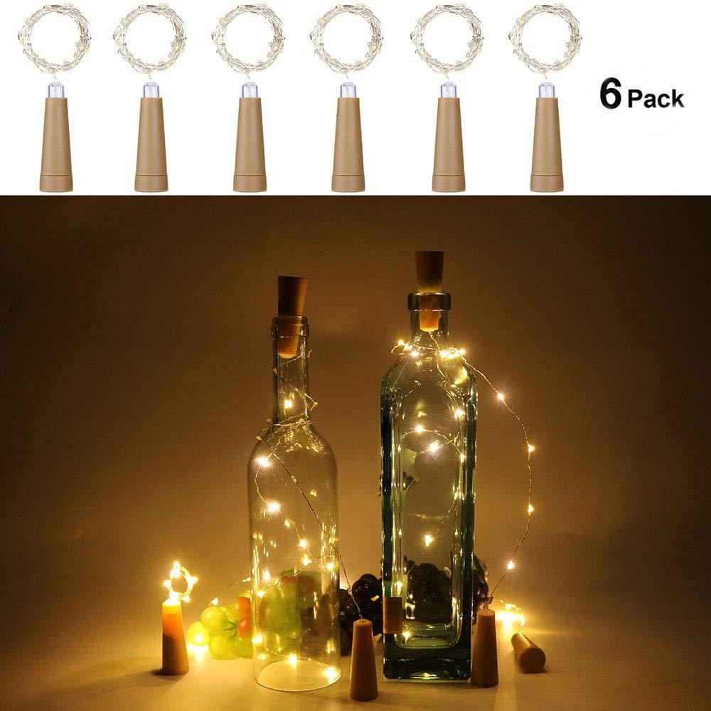 6PCS 1M/2M LED String Lights Garland Copper Wire Cork String Fairy Lights Wine Bottle Lights For Valentine Wedding Decoration