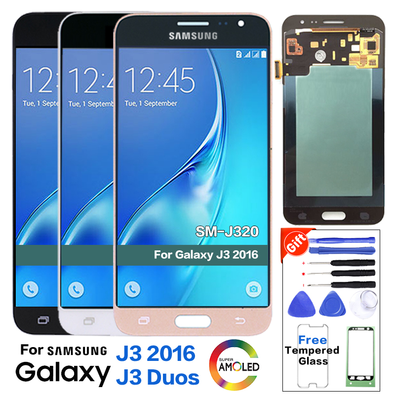 Super Amoled <font><b>LCD</b></font> Für Samsung Galaxy J3 2016 <font><b>J320</b></font> J320A J320F J320P J320M J320FN <font><b>LCD</b></font> Display <font><b>Touch</b></font> Digitizer image