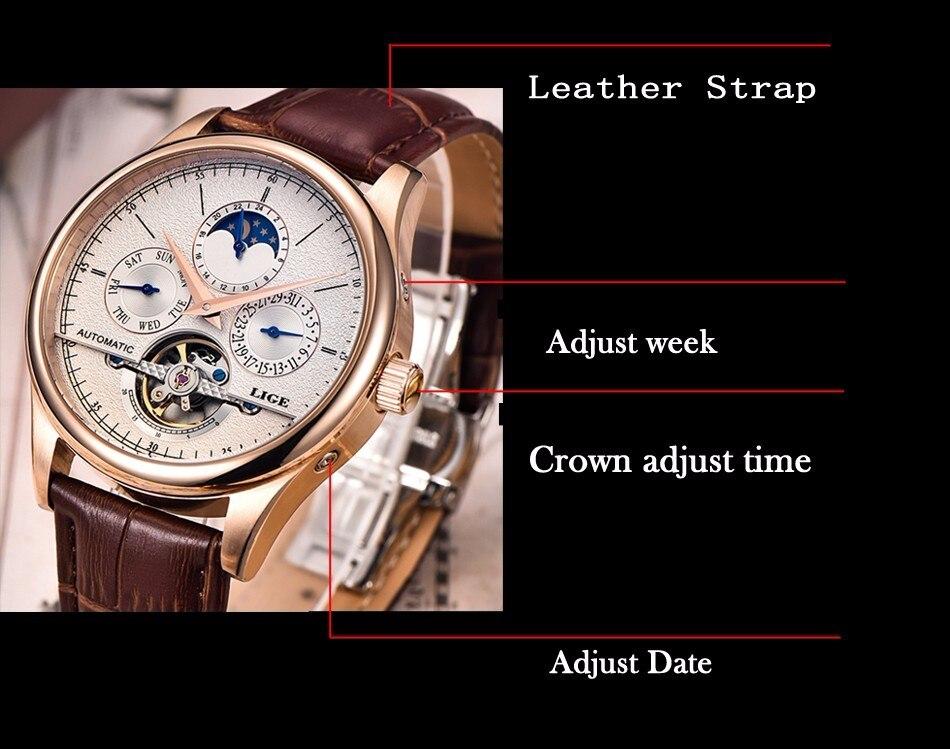 automático relógio mecânico tourbillon relógio de couro