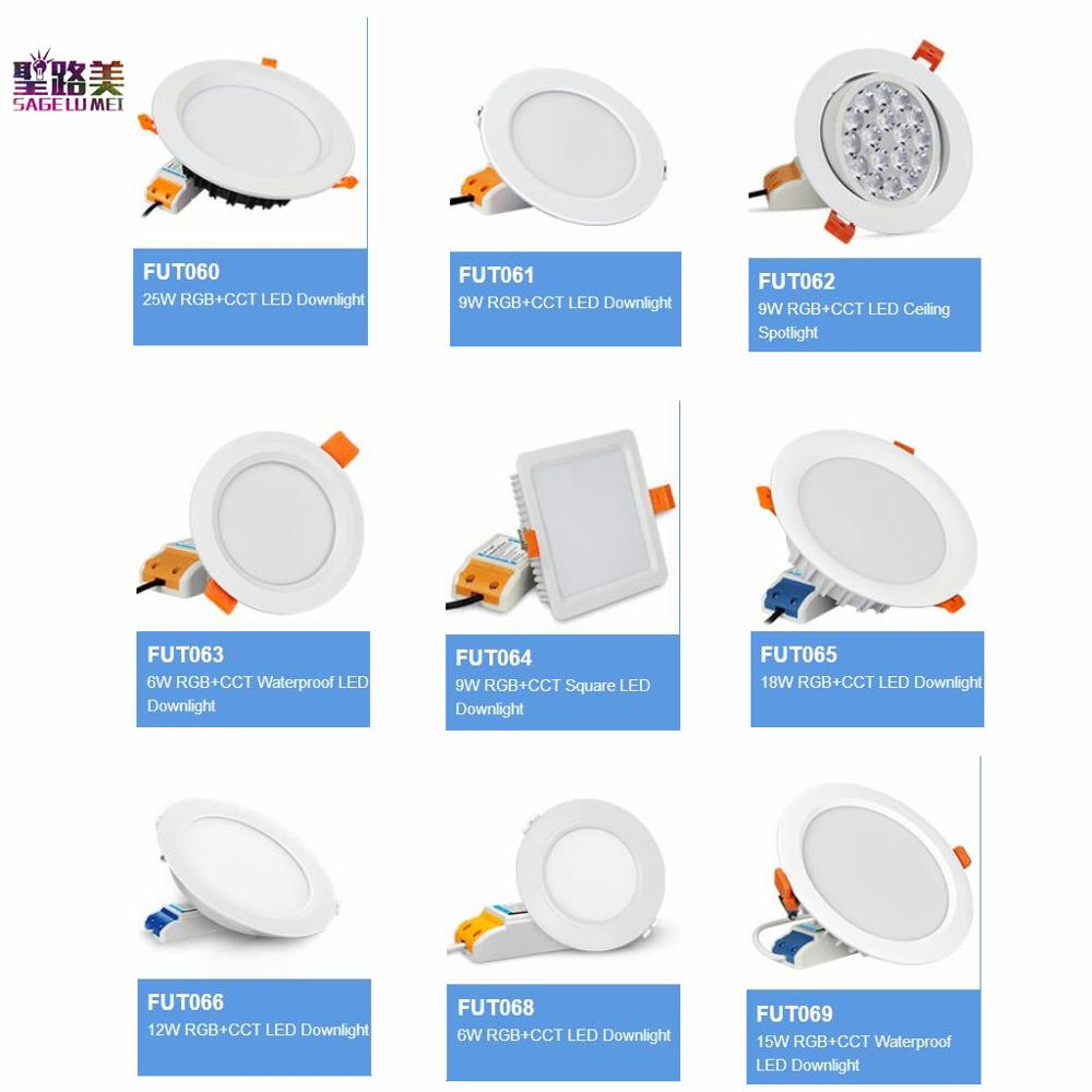 MILIGHT AC100-240 V 6W 9W 12W 15W 18W 25W RGB + CCT LED Downlight LED impermeable foco de techo FUT061 062 063 064 065 066 068 069