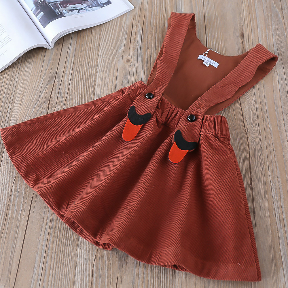 Hurave solid Corduroy New baby Girl clothes Children Summer Clothing sleeveless Kids Clothes Casual suspenders dress summer baby girl printed pattern straps dresses toddler girls baby clothing sleeveless baby dress kids casual clothes yp