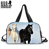 Double Belt Portable Cavans Duffle Bag Travel Sport General With Shoes Pocket Crossbody Travelbag Horse Prints