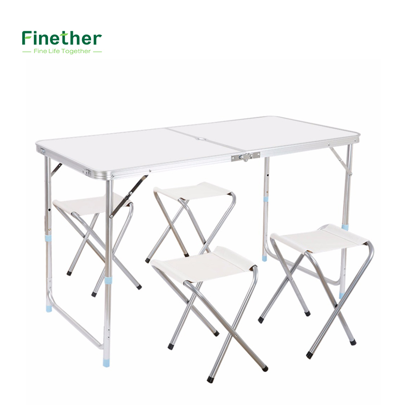 Finether height adjustable aluminum folding table portable - Camping table adjustable height ...