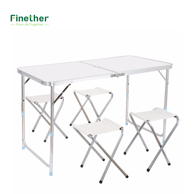 Finether Height Adjustable Aluminum Folding Table Portable For Indoor  Outdoor Activity Recreation Dining Picnic Party