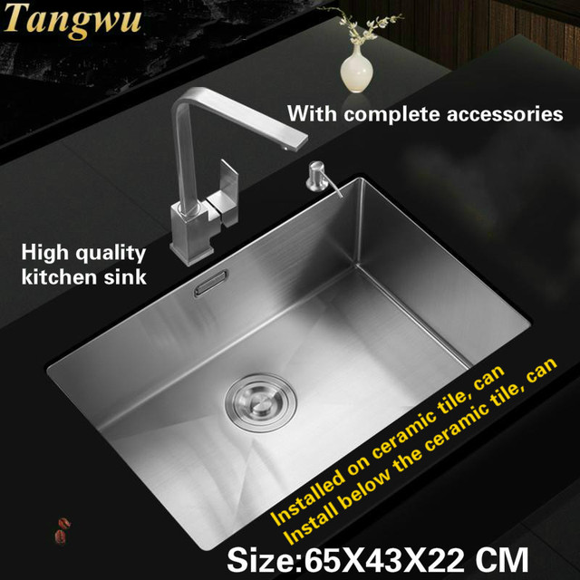 Tangwu Hand Made Big Single Slot 304 Stainless Steel Wash Bowl Kitchen Sink  65x43x22 Cm