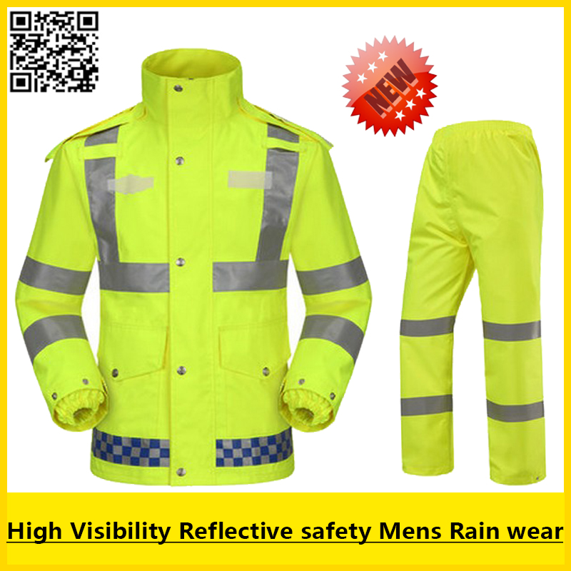 Hi vis EN471 waterproof windproof breathable safety reflevtive workwear  rain suit rain jacket rain pant free shipping