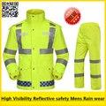 Hi vis reflevtive EN471 водонепроницаемый ветрозащитный дышащий безопасности спецодежды костюм дождя куртку от дождя дождь брюки бесплатная доставка