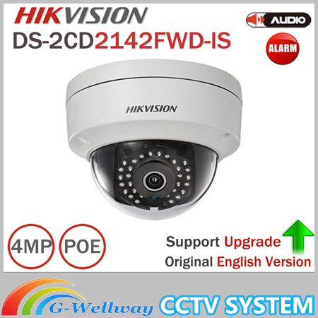 Hikvision Dome Camera DS-2CD2142FWD-IS 4MP POE IP Camera Day/night Infrared 3-axis adjustment IP67 IK10 Protection IP Camera hik security camera ds 2cd2142fwd is 4mp poe ip camera day night cctv ip camera with audio and alarms interface 8pcs lot