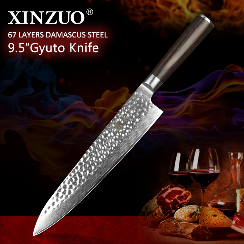 XINZUO 9 5 inch Chef Knife Japanese VG10 Damascus Stainless Steel 240mm Gyuto Knife Kitchen Cooking