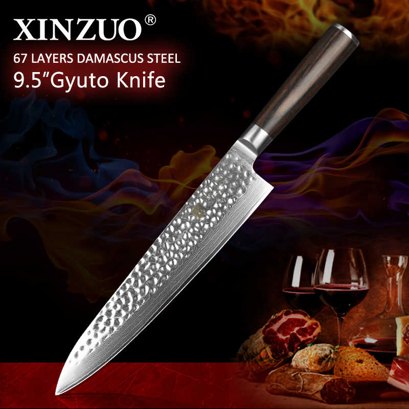 XINZUO 9.5'' inch Chef Knife Japanese VG10 Damascus Stainless Steel 240mm Gyuto Knife Kitchen Cooking Tools Pakka wood handle