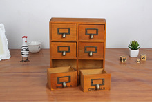 1PC Zakka 6 drawer storage box groceries vintage wooden finishing cabinet desktop organizer JL 0948
