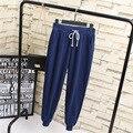 Casual Nuevas Mujeres Harem Pantalones Sweatpant Plus Tamaño 3XL 4XL Floja Elástico de Alta Cintura Hasta los Tobillos Pantalones Azul Negro gris KK1951