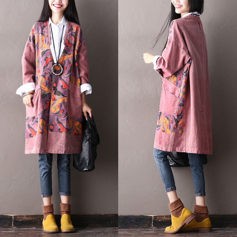 2018 female new autumn and winter national trend print plus plus size outerwear elegant medium-long loose denim   trench