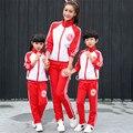 2017 primavera clothing set ocasional do esporte da família mãe e filha filho pai mãe combinando roupas uniforme escolar roupas esporte terno