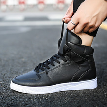 2018 Hot Men Boots Fashion high top shoes Autumn Leather Footwear High Top Canvas Casual Shoes Basketball boots