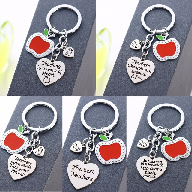 Thank You Teachers Love Heart Keychain Chic Red Apple Keyring Thanksgiving Teacher School Party Gifts Souvenir Key Chains Rings