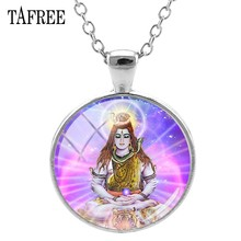 TAFREE Lord Shiva Pendants Necklaces New Fashion Silver Plated India Religion Statement Necklace Pendant Buddha Jewelry LS47(China)