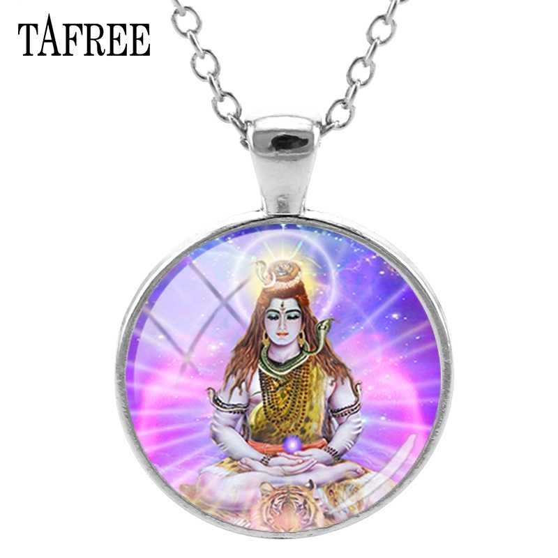 TAFREE Lord Shiva Pendants Necklaces New Fashion Silver Plated India Religion Statement Necklace Pendant Buddha Jewelry LS47