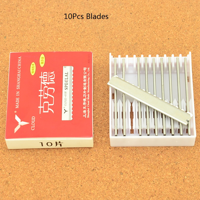 10Pcs Stainless Steel Hair Thinning Razors Blades Professional Hair Trimming Razor Blades CLOUD Hair Cut Satey Blades HD0003