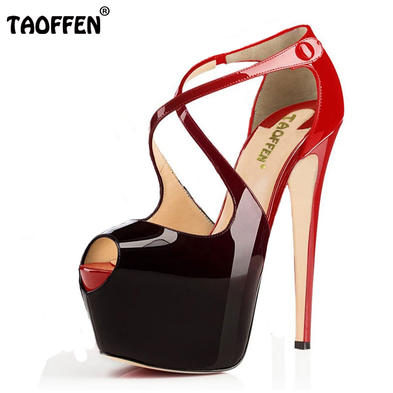 TAOFFEN Women High Heels Sandals Sexy Gladiator Shoes Woman Open Toe Thin Heel Sandals Ladies Party Shoes Size 35-46 B062 women brands shoes evening high heels black patent leather sandals open toe thin heel sexy party shoes new arrival 2017 handmade