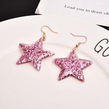 Girls cute hand-made Retro modern bright star Dangle earrings Korean Drop jewelry Shipping