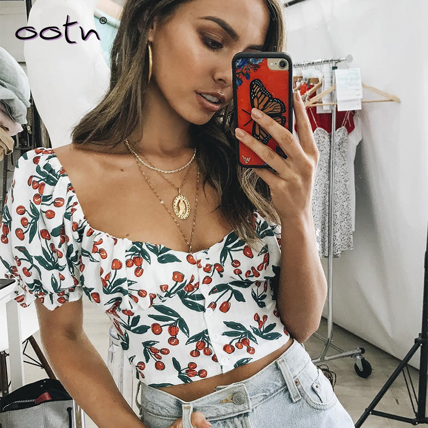 Sexy Crop Top Cherry Floral Print Female Shirt  Square Collar Puff Sleeve Ladies Top Casual Frill Ruffles Blouse Women Button